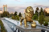 stock photo of turkmenistan  - The fountain complex in the park - JPG