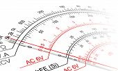 picture of  multimeter  - Abstract view of Analog multimeter scale with amps - JPG