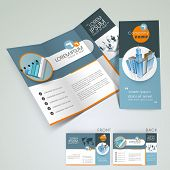 stock photo of presenting  - Professional business three fold flyer template - JPG