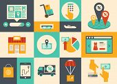 foto of e-business  - Flat design vector illustration icons of e - JPG