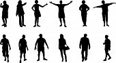 picture of walking away  - various vector illustration silhouettes of people black on white - JPG