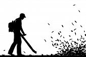 image of leaf-blower  - Editable vector silhouette of a man using a leaf - JPG