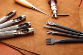 stock photo of leather tool  - Leather craft hand tool - JPG