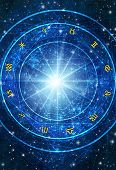 picture of zodiac  - astrology wheel with zodiac symbols over blue background with stars - JPG