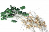 picture of capacitor  - Resistors and capacitors for a printed circuit board on white background - JPG