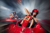 pic of karts  - girl is driving Go - JPG