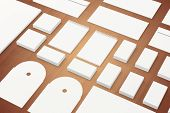 Blank Stationery Branding Template On Wooden Background poster