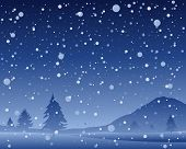 foto of snowy hill  - an illustration of a beautiful dark snowy night at christmas with scenic hills and fir trees in a snow shower - JPG