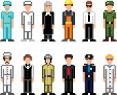 people occupations pixel art icons