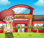 foto of jumpsuits  - Illustration of a boy with a school building at his back - JPG