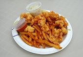 stock photo of gator  - conch fritters and gator bites with french fries - JPG