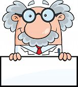 stock photo of physicist  - Smiling Scientist Or Professor Over Blank Sign Cartoon Character - JPG