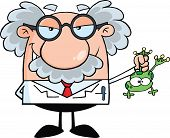stock photo of physicist  - Smiling Mad Scientist Or Professor Holding A Frog - JPG