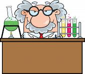 picture of mad scientist  - Mad Scientist Or Professor In The Laboratory Cartoon Character - JPG