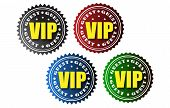 picture of fellowship  - Four vip vector badges in the colors black red blue and green - JPG