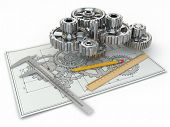 stock photo of draft  - Engineering drawing - JPG