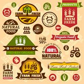 stock photo of combine  - Farm fresh labels - JPG