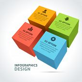 pic of cube  - Infographics options design elements - JPG