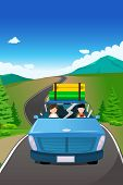 pic of car ride  - A vector illustration of couple riding a car going on a road trip - JPG