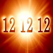 stock photo of doomsday  - 12 12 12 written on a soft red background  - JPG