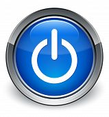 Power Icon Glossy Blue Button