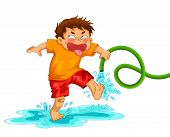 image of prank  - little mischievous boy playing with the water hose - JPG