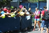 wo times Grand Slam champion Victoria Azarenka signing autographs after practice for US Open 2013