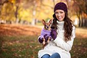 foto of miniature pinscher  - Happy woman holding her little dog in arms - JPG