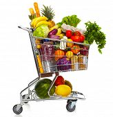 stock photo of baguette  - Full shopping grocery cart - JPG