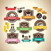 stock photo of mustache  - Collection of vintage retro grunge food - JPG