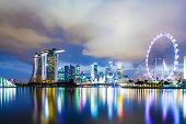 stock photo of singapore night  - Singapore skyline at night - JPG