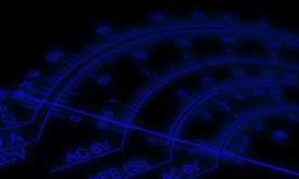 image of ohm  - Abstract view of Analog multimeter scale with amps - JPG
