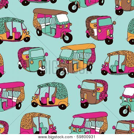 Seamless hand drawn travel illustration India auto rickshaw background pattern in vector