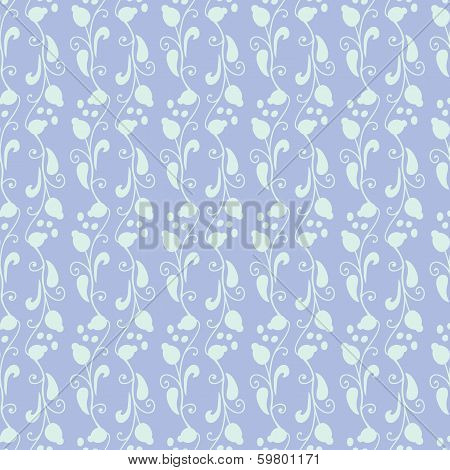 Neutral Floral Ornament. Blue Lilac Tone