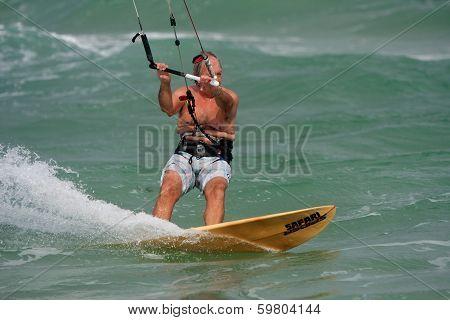 Senior Man Parasail Surfs Off Florida Coast