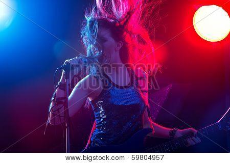 Rock Star Singing On Stage
