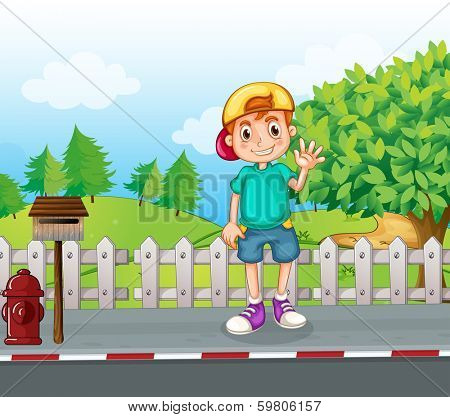 Illustration of a young boy standing at the streetside near the wooden mailbox