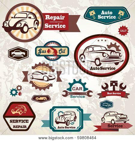 Car Service Retro Emblem, Collection Of Vintage Vector Labels