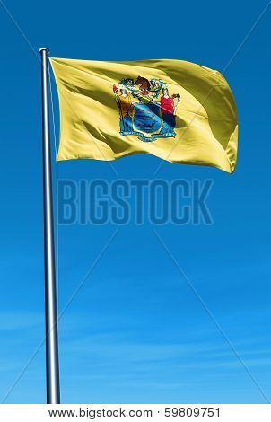 New Jersey (USA) flag waving on the wind