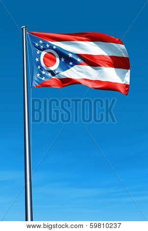 Ohio (USA) flag waving on the wind