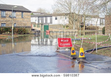 Road closed by flooding, Basingstoke