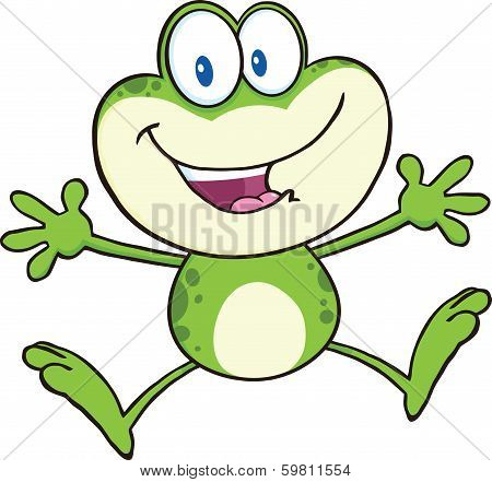 Cute Green Frog Cartoon Mascot Character Jumping
