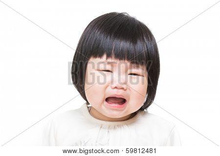 Asian baby girl feeling unhappy