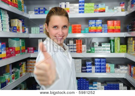 Pharmacist Giving Thumbs Up
