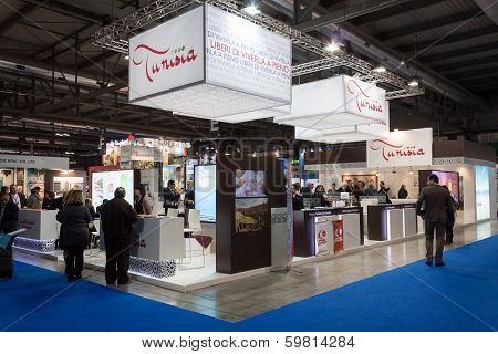People Visiting Tunisia Stand At Bit 2014, International Tourism Exchange In Milan, Italy