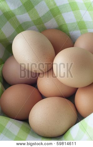 Pile Of Eggs In Gingham
