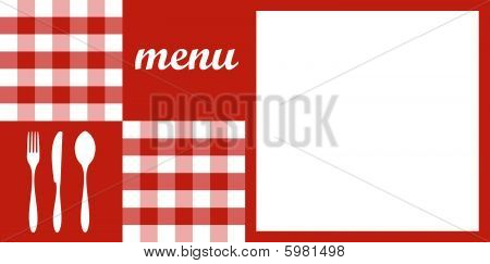 Menu design. Red tablecloth, cutlery and white for text
