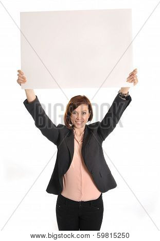 Happy Busy Business Woman Holding  Cardboard Sign As Copy Space