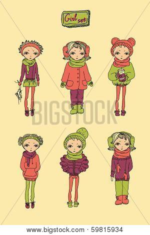 Set of teenage vinter girls