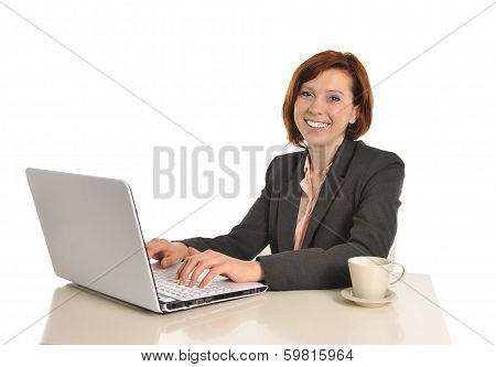 Happy Business Woman With Red Hair Drinking Coffee And Smiling